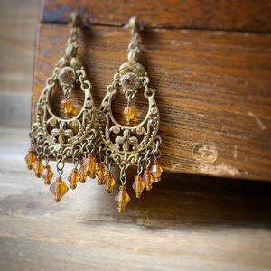Jewelry - Boho Brass & Amber Crystal Dangle Earrings